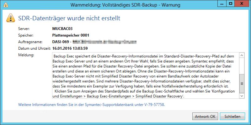 Backup Exec SDR-Datenträger