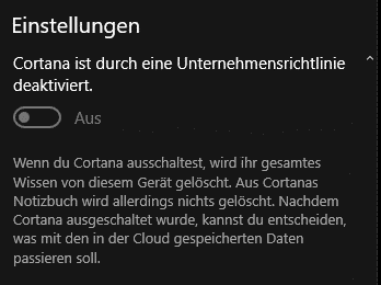 Cortana deaktivieren in Windows 10