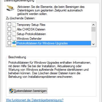 Datenträgerbereinigung – Erweiterte Optionen bei Windows 10