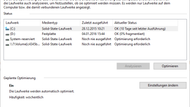 Windows 10 – Automatische Defragmentierung ausschalten