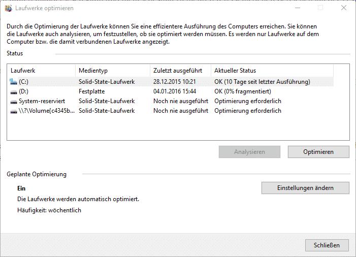 Defragmentierung Windows 10, SSD, Festplatte, Optimierung