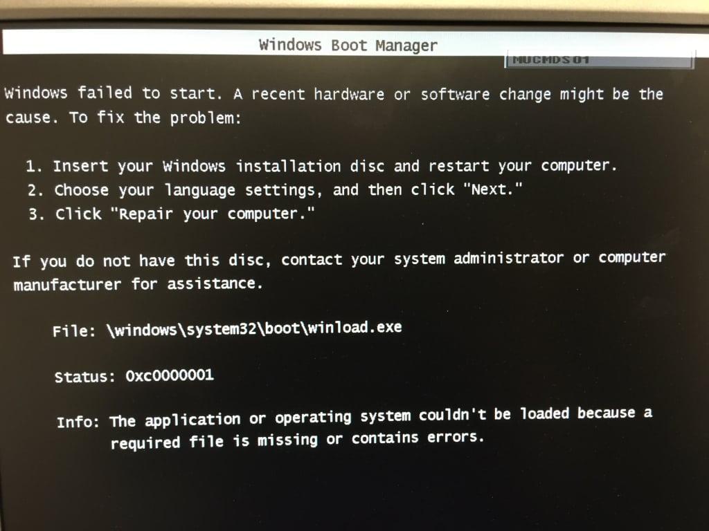 Error Winload.exe 0xc0000001