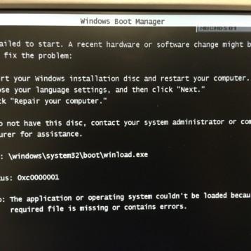 Windows failed to start – Winload.exe – Status 0xc0000001