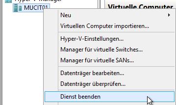 Hyper-V Manager VMMS Dienst stoppen bzw. starten