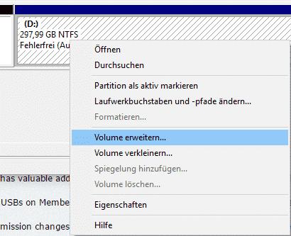 Partition erweitern Volume verkleinern Eigenschaften Datenträgerverwaltung