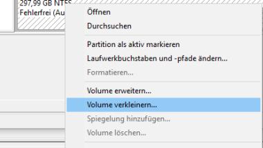 Partition vergrößern oder verkleinern bei Windows 10