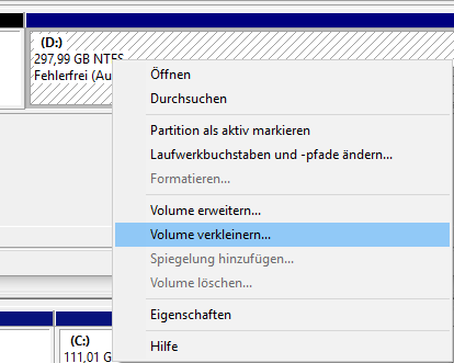 win7 partitionen ändern