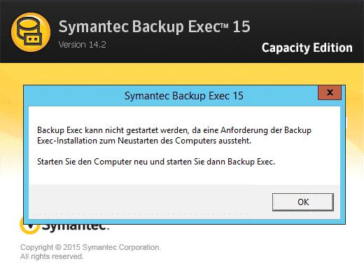 Veritas Backup Exec 2015 FP3 Installation Neustart