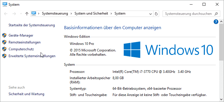 Windows 10 System Versionsnummer Edition
