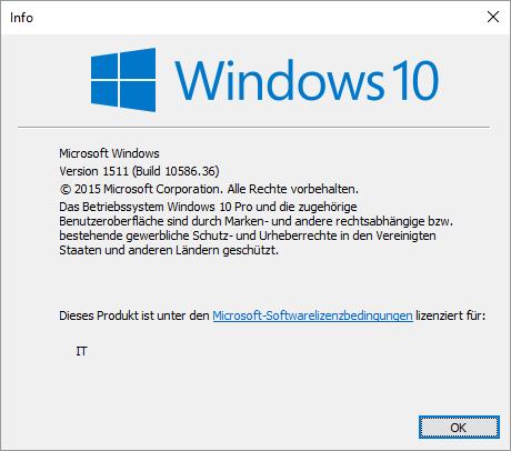 Windows Version winver Build