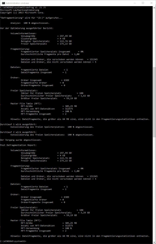 Defrag Defragmentierung Tool Leistung Befehl Eingabeaufforderung
