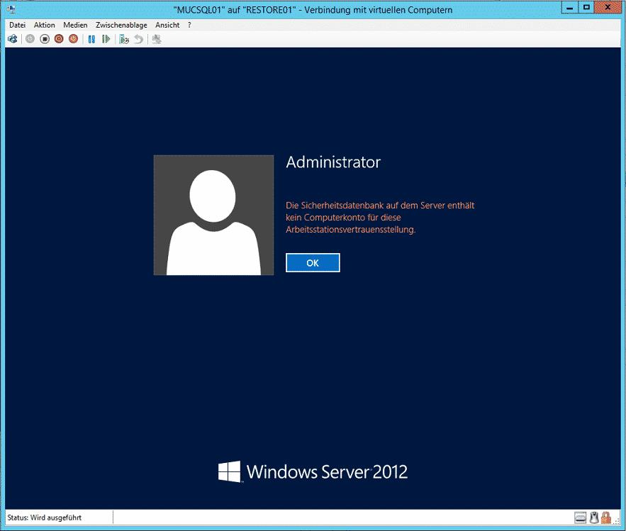 Die Sicherheitsdatenbank auf dem Server enthällt kein Computerkonto