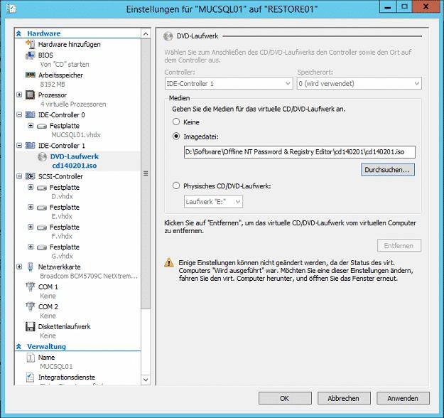 Hyper-V Einstellungen Boot Windows Password Reset