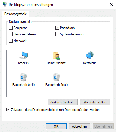 Windows 10 Desktopsymboleinstellungen Papierkorb entfernen