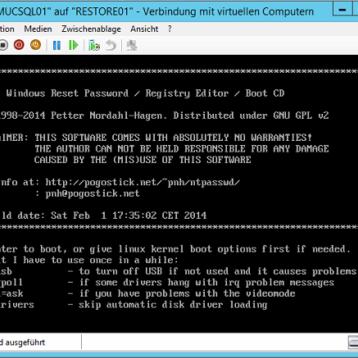Windows Kennwort einer Hyper-V VM zurücksetzen