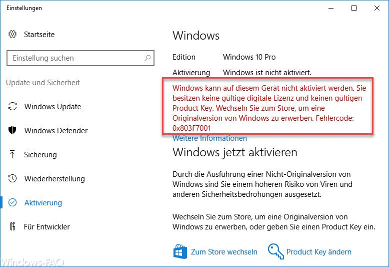 Windows kann auf diesem Gerät nicht aktiviert werden. 0x803F7001
