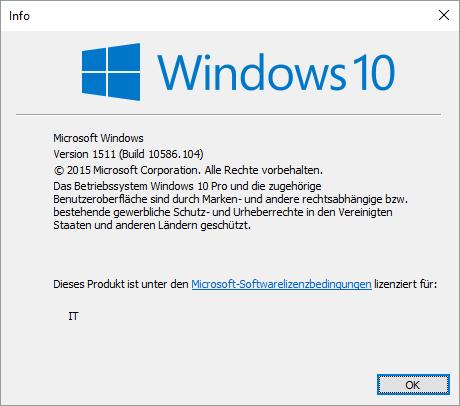 Window 10 Version 10586.104