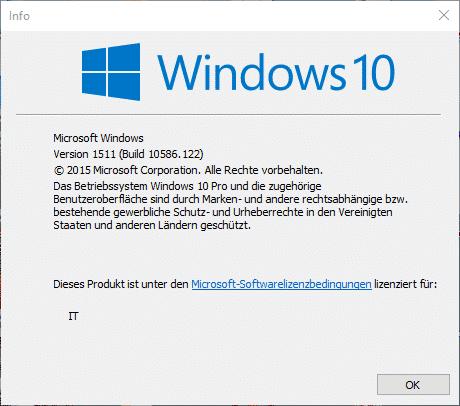 Window 10 Version 10586.122