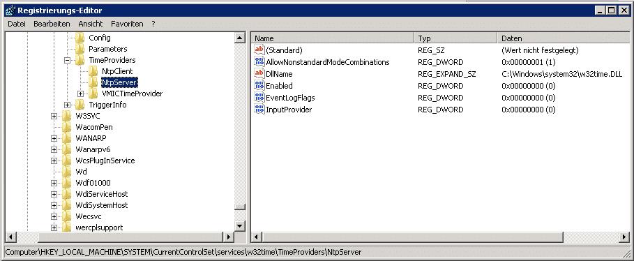 Registry NtpServer
