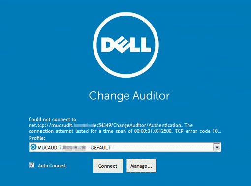 Dell Change Auditor Error Count not connect to