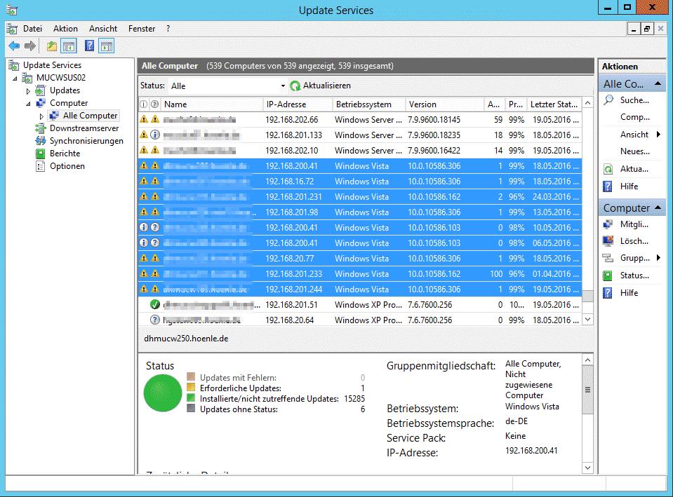 WSUS zeigt Vista als Windows 10