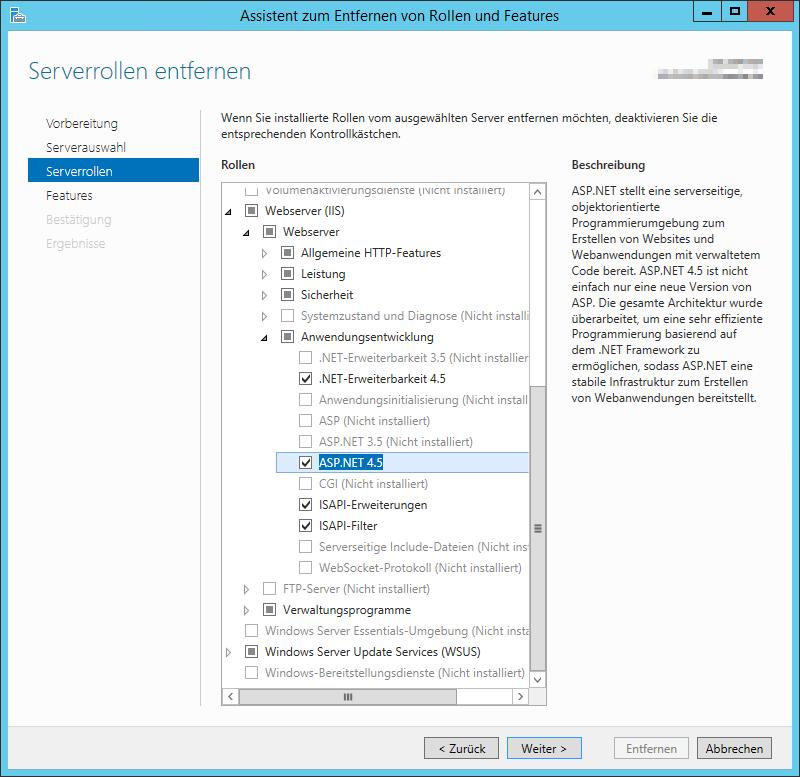 ASP.NET 4.5 Deinstallation