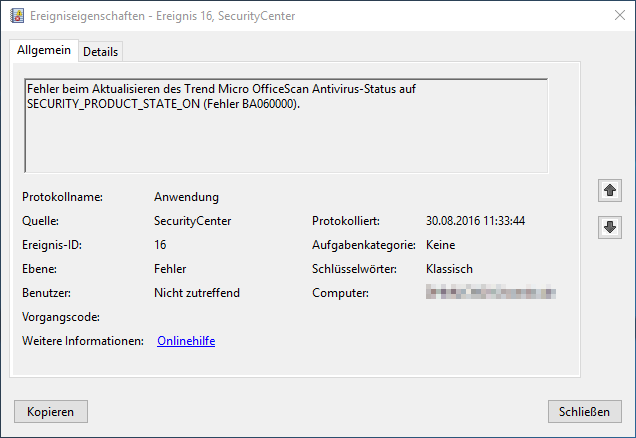 Trend Micro OfficeScan Antivirus SECURITY_PRODUCT_STATE_ON Fehler BA060000
