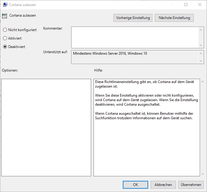 GPEDIT Cortana ausschalten Windows 10 Gruppenrichtlinie