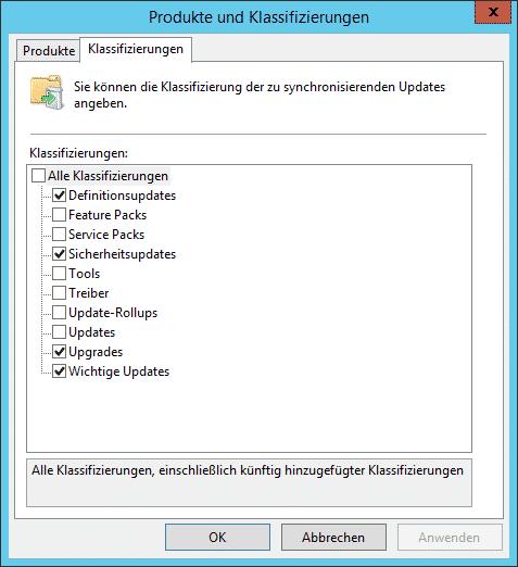 WSUS Klassifizierungen