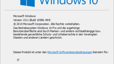 Windows 10 WSUS Update von Version 1511 Build 10586.494 auf 1607 Build 14393.10