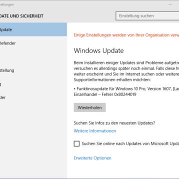 Windows 10 Update Fehler 0x80d02002, 0x80244019 und 0xc1800118