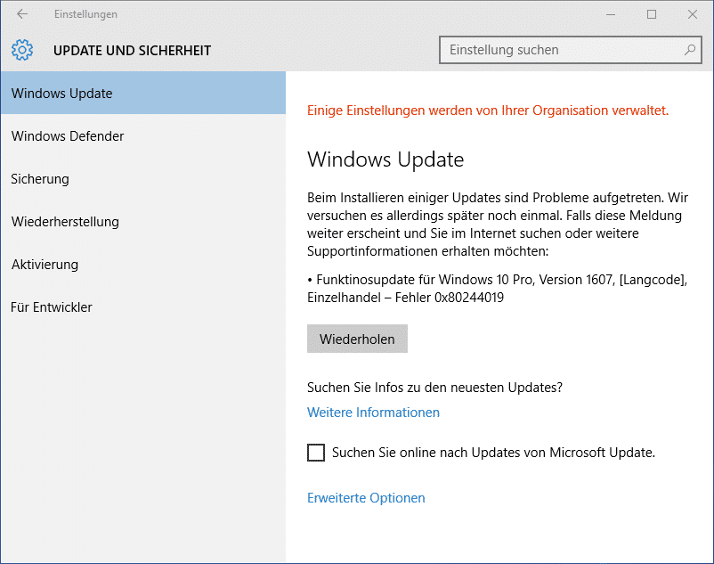 Windows 10 Funktionsupdate 0x80244019