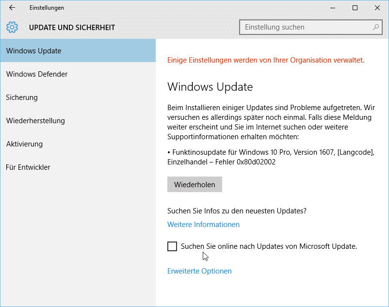 Windows 10 Funktionsupdate 0x80d02002