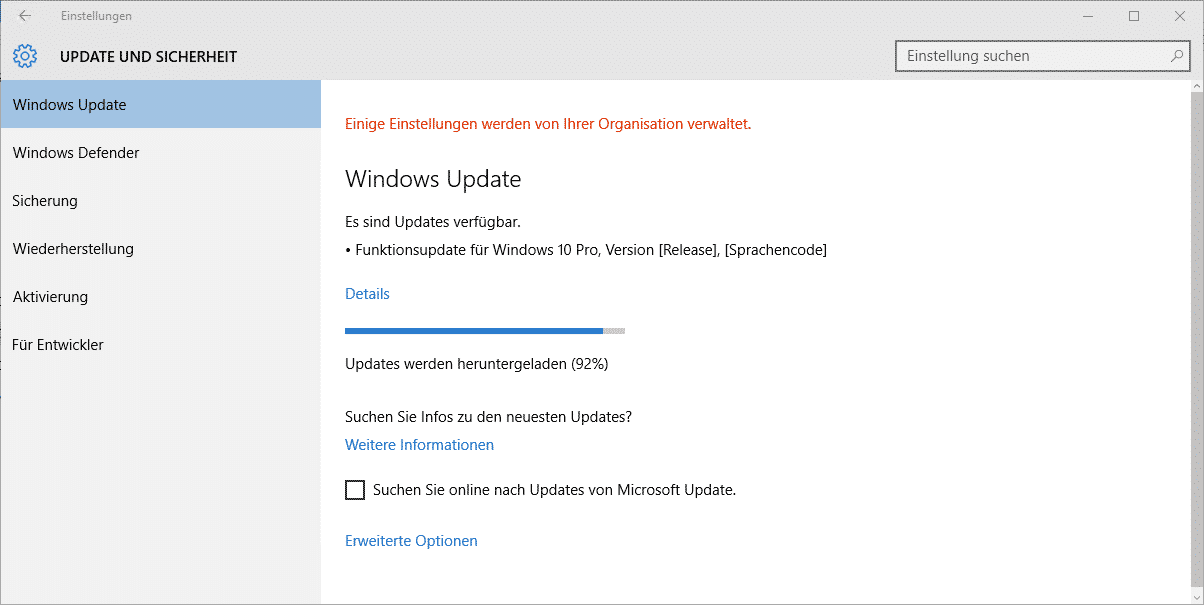 Windows 10 Funktionsupdate Download