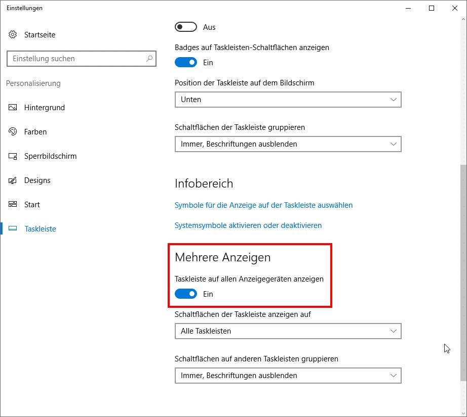 Windows 10 mehrere Anzeigen Taskleiste Monitor