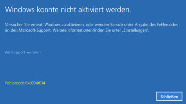 0xc004f014 Fehlercode beim Windows 10 Upgrade Home -> Pro