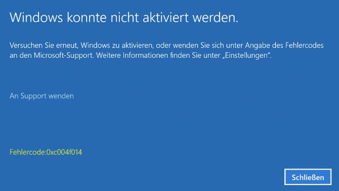 0xc004f014 Fehlercode Windows 10