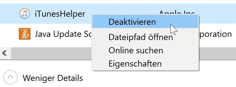 Autostart Task deaktivieren