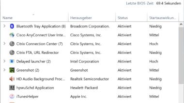 Windows 10 Autostart bereinigen mit dem Taskmanager (MSCONFIG)