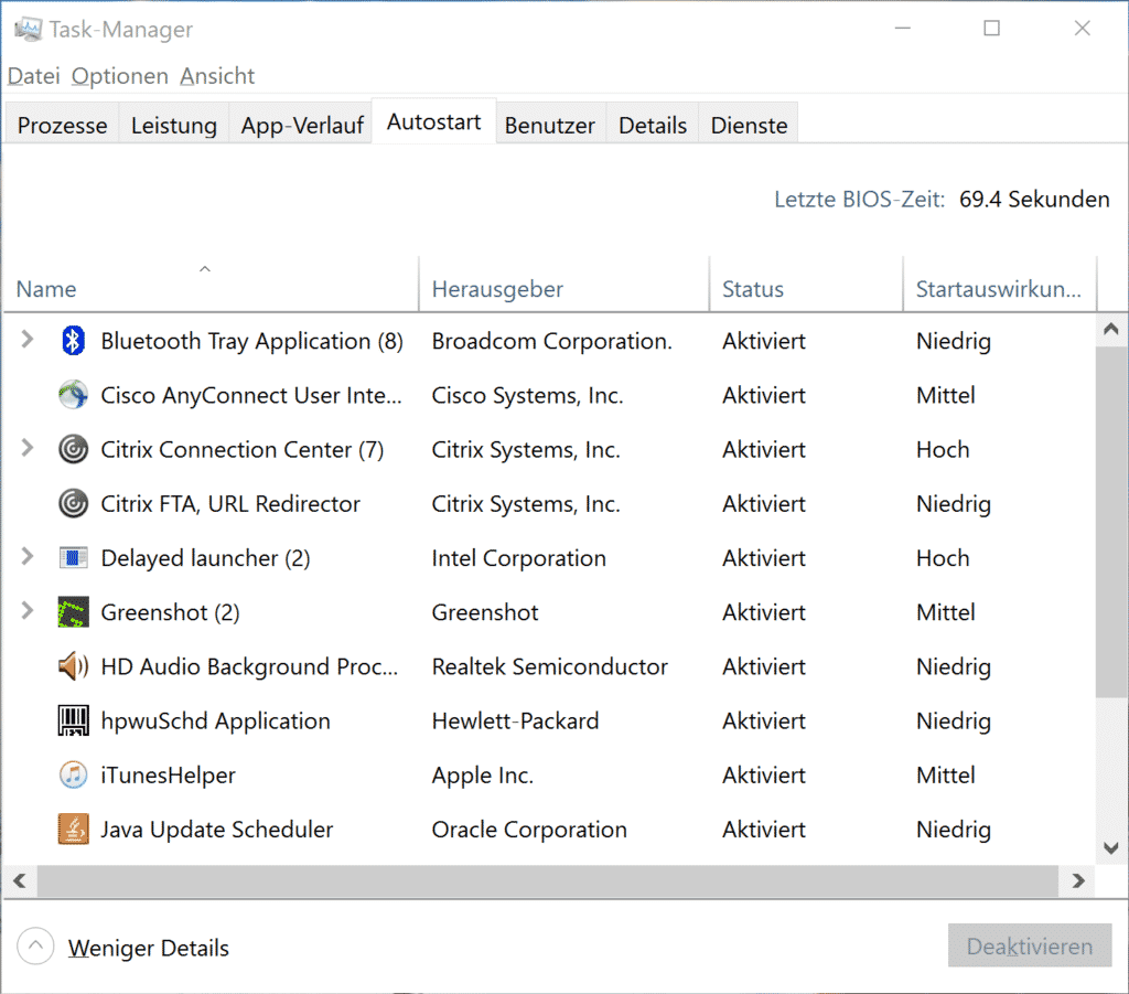 Autostart bereinigen im Windows Taskmanager