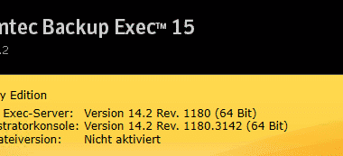 FP5 für Backup Exec 15 erschienen (Revision 1180)