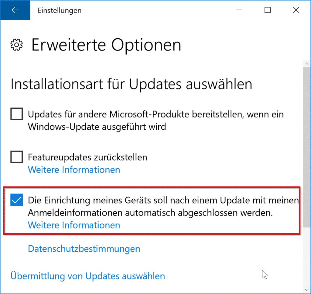 Windows Update - Die Einrichtung meines Geräts soll nach einem Update mit meinen Anmeldeinformationen