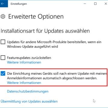 Windows Update mit automatischer Useranmeldung nach der Installation