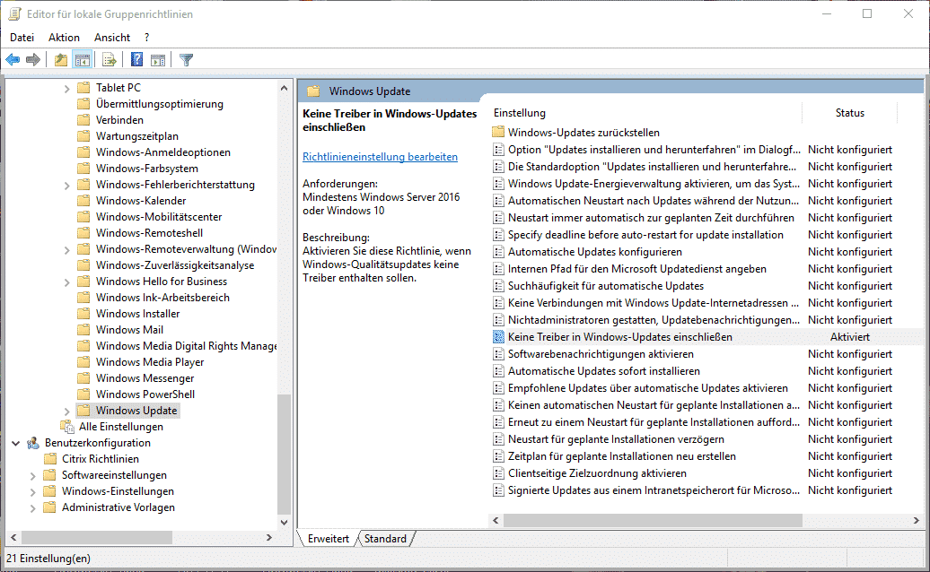 Gruppenrichtline Windows Treiber Updates verhindern