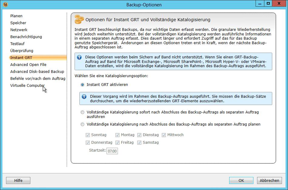 Instant GRT Backup Exec