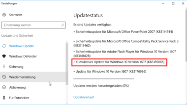 KB3189866 Update bleibt bei Windows 10 Installation hängen