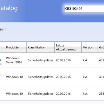 KB3193494 kumulatives Update ersetzt fehlerhaftes KB3189866