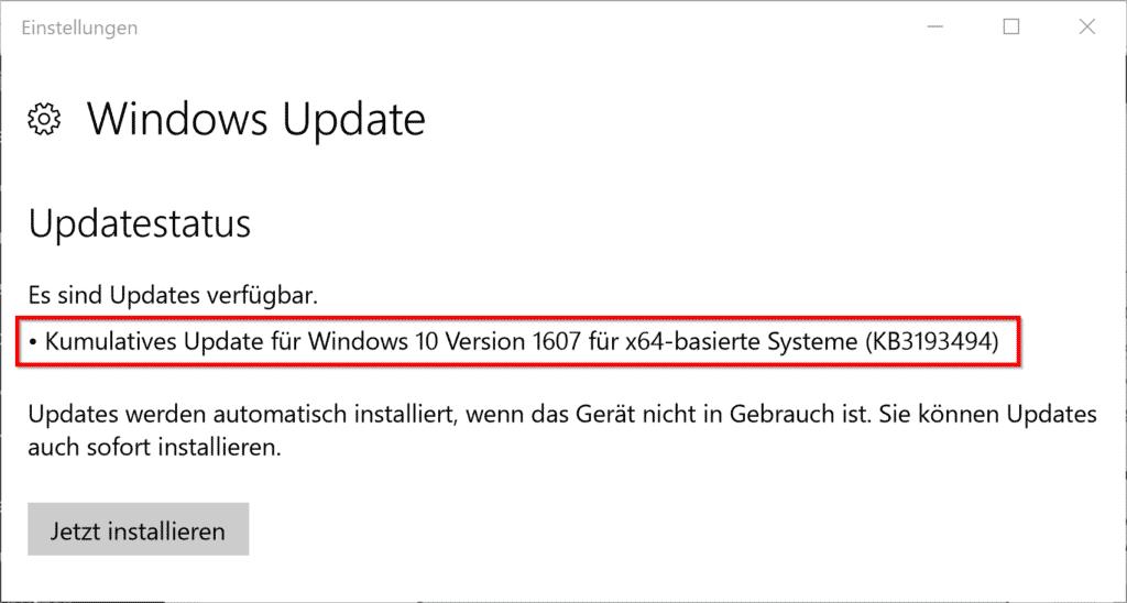 Kumulatives Update KB3193494