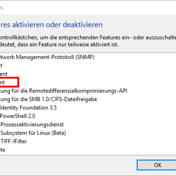 TFTP Client bei Windows 10 aktivieren