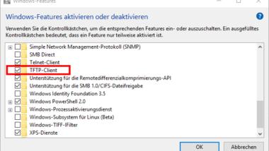 TFTP Client bei Windows 10 aktivieren